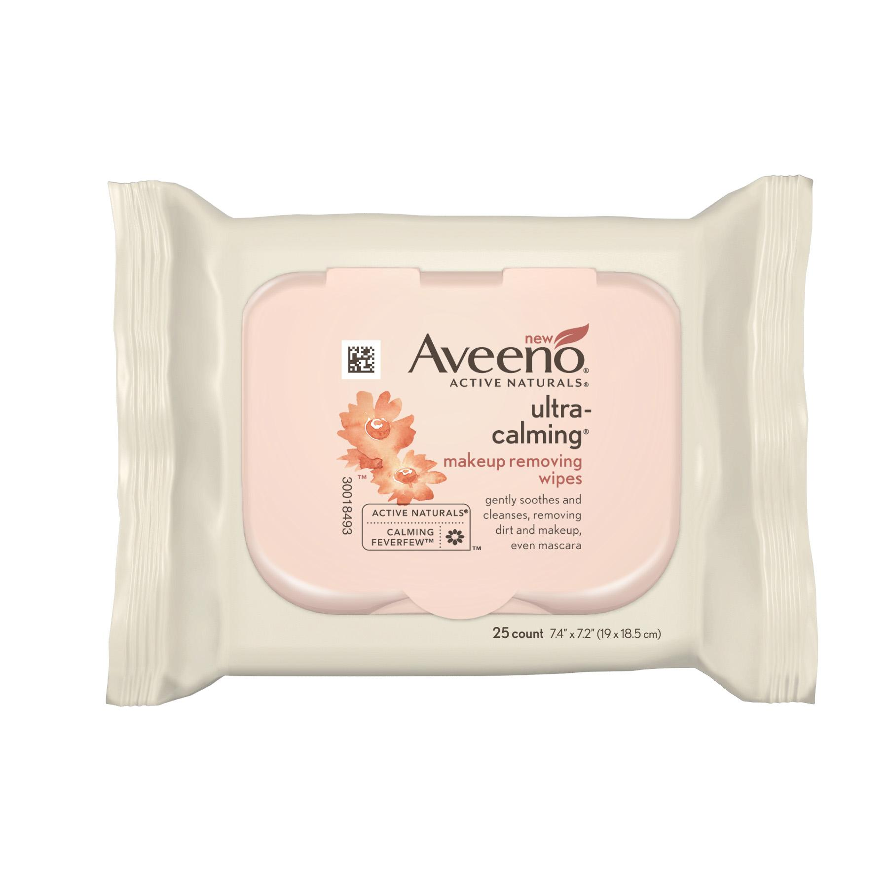 image of the Aveeno Active Naturals ultra-calming makeup removing wipes package that has a plastic resealable top.